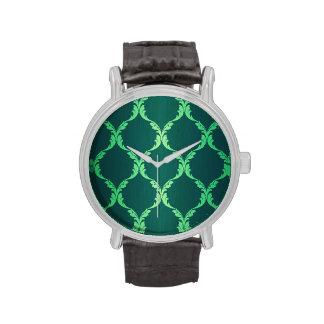 vintage green damask floral elegant chic pattern t wrist watches