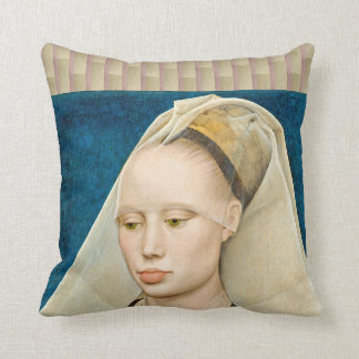 Vintage Green-Eyed Beauty: Portrait of a Lady Throw Pillow