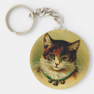 Vintage Green-Eyed Cat with Jingle Bells Keychain