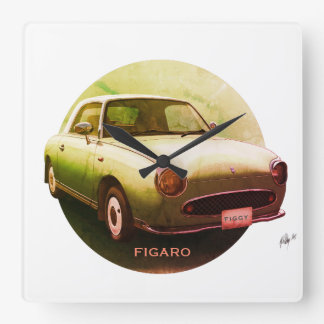 Vintage Green Figaro Classic Car Square Wall Clock