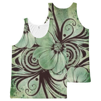 Vintage Green Floral with Swirls