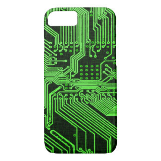 Vintage Green Ghost Circuit Board Design iPhone 7 Case