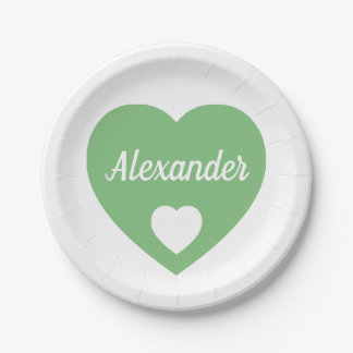 Vintage Green Heart on White Personalized Paper Plate