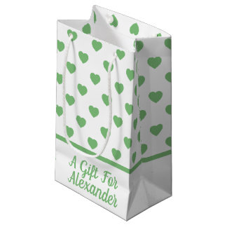 Vintage Green Hearts on White Personalized Small Gift Bag