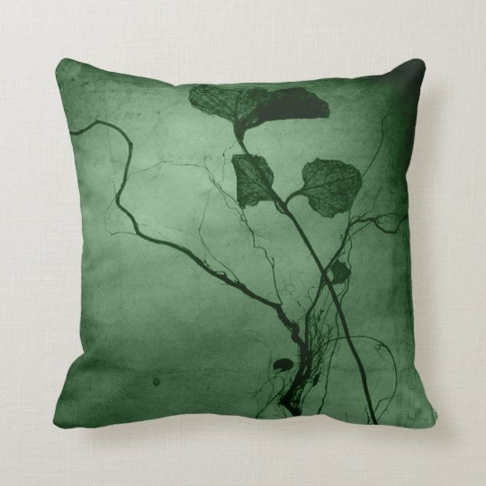 Vintage Green Leaf Root Throw Pillow