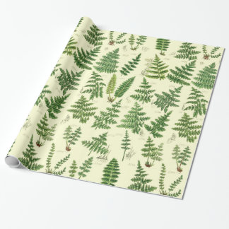 Vintage Green Leafy Plants Wrapping Paper