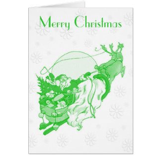 Vintage Green Merry Christmas Card