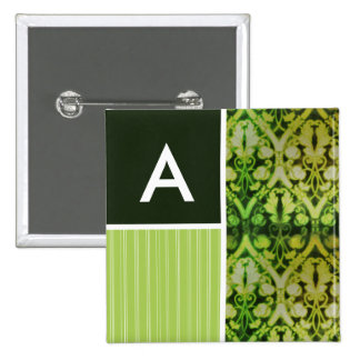 Vintage Green Pattern Pinback Buttons