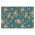 Vintage green pink faux rose gold stripes floral tissue paper