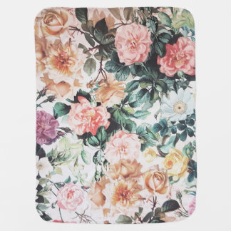Vintage green pink yellow watercolor roses floral. baby blanket