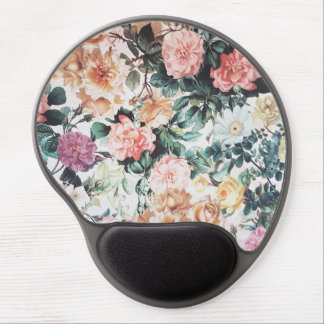 Vintage green pink yellow watercolor roses floral. gel mouse pad