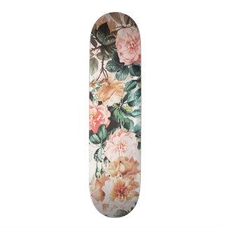 Vintage green pink yellow watercolor roses floral. skate board decks