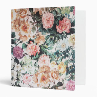 Vintage green pink yellow watercolor roses floral. vinyl binder
