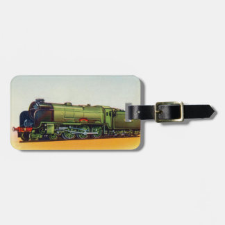 Vintage Green Railroad Engine Luggage Tag