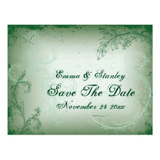 Vintage green scroll leaf Save the Date Postcard