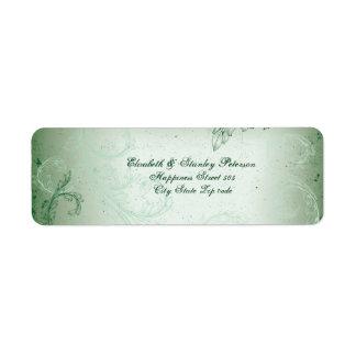 Vintage green scroll leaf wedding label return address label