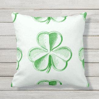 Vintage Green Shamrock Outdoor Pillow