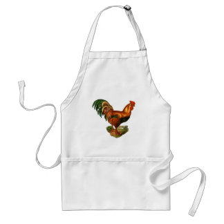 Vintage Green Tail Feathers Rooster Cockerel Standard Apron