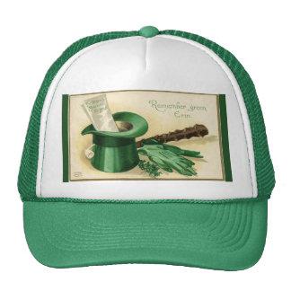 Vintage Green Top Hat Gloves Pipe Shamrock
