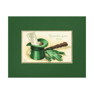 Vintage Green Top Hat Gloves Pipe Shamrock Canvas Print