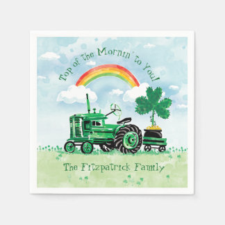 Vintage Green Tractor Shamrock Add Family Name Paper Napkin