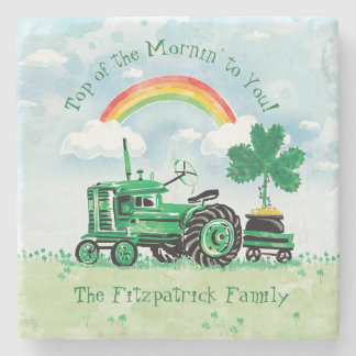 Vintage Green Tractor Shamrock Add Family Name Stone Coaster