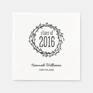 Vintage Green Vines 2016 Graduation Paper Napkins