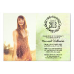 "Vintage Green Vines 2016 Photo Graduation 5"" X 7"" Invitation Card"