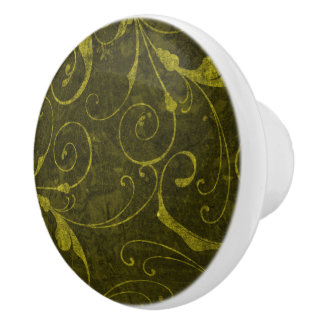 Vintage Green Wallpaper Ceramic Knob