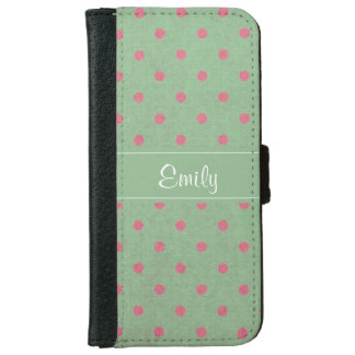 Vintage Green with Pink Polka Dots Pattern iPhone 6 Wallet Case