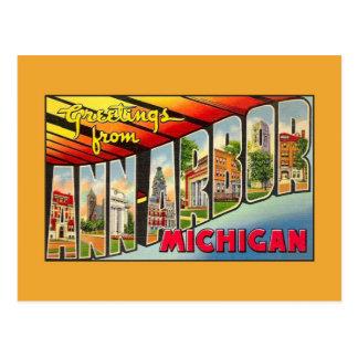 Vintage greetings from Ann Arbor MI Postcard