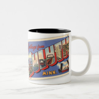 Vintage Greetings from Duluth Minnesota Two-Tone Mug