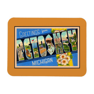 Vintage greetings from Petoskey Michigan Magnet
