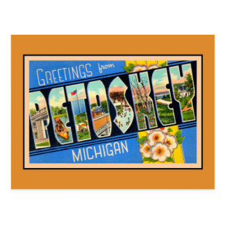 Vintage greetings from Petoskey Michigan Postcard