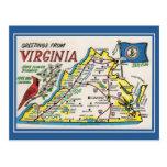 Vintage greetings Virginia map state flower, bird