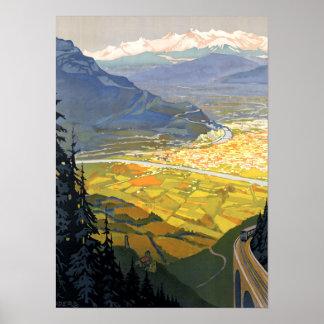 Vintage Grenoble France Railway Poster