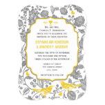 Vintage Grey and Yellow Floral Love Bird Wedding