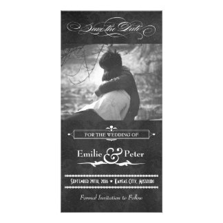 Vintage Grey Damask Photo Save the Date Photo Card
