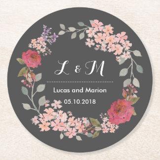 Vintage Grey Floral Wreath Monogram Wedding Party Round Paper Coaster