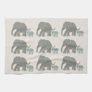 Vintage Grey on Ivory Graphic Elephant Print Kitchen Towel