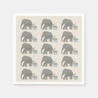 Vintage Grey on Ivory Graphic Elephant Print Paper Napkins