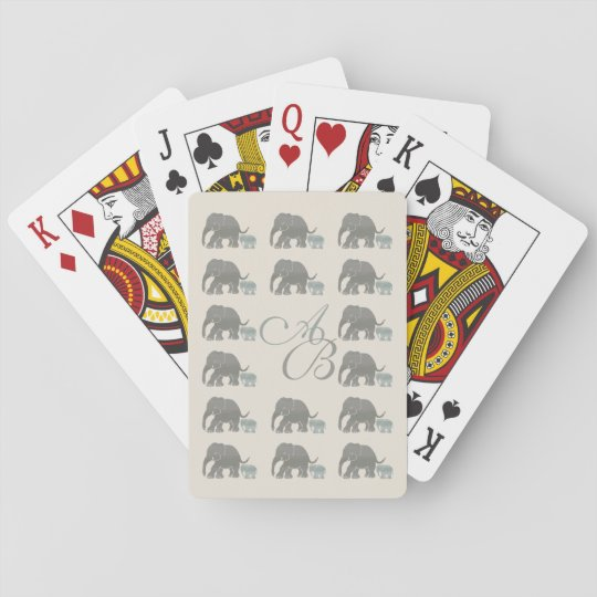 Vintage Grey on Ivory Monogram Elephant Pattern Poker Deck