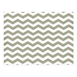 Vintage Grey White Chevron. Zigzag Pattern Postcard