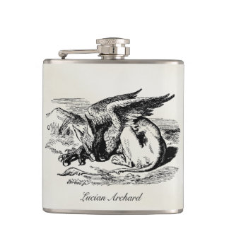 Vintage Griffin Engraving Custom Name Goth Flask