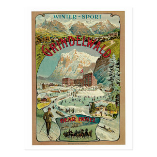 Vintage Grindelwald Swiss travel advert Postcard