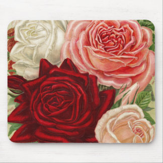 Vintage Group of Pink White and Red Roses Mouse Pad