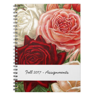 Vintage Group of Pink White and Red Roses Notebook