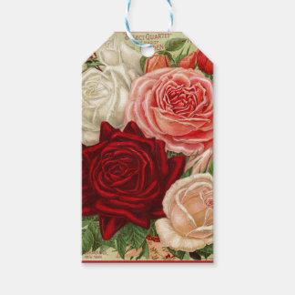 Vintage Group of Pink White and Red Roses Pack Of Gift Tags