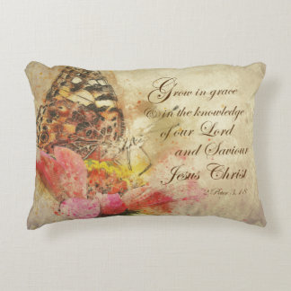Vintage Grow in Grace Bible Verse Decorative Pillow