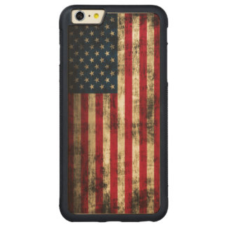 Vintage Grunge American Flag Carved Maple iPhone 6 Plus Bumper Case